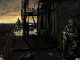 Stalkers on the roof of the skyscraper in Pripyat by Bobrbor