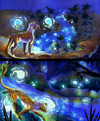 Walking between blue lights