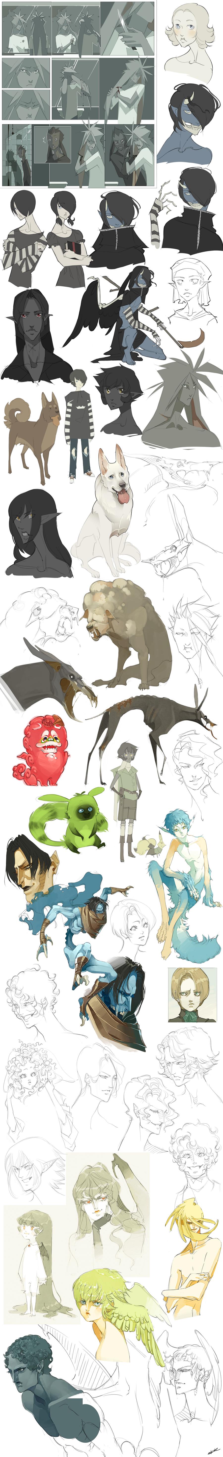 Sketch Dump by WhiteFoxCub