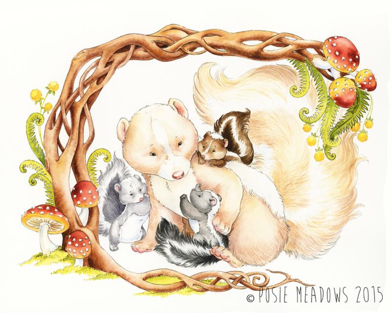 Skunk Family by Shalladdrin