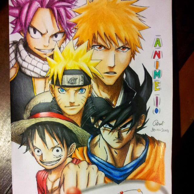Naruto,Luffy,Goku, Natsu,Ichigo by michinoli on DeviantArt