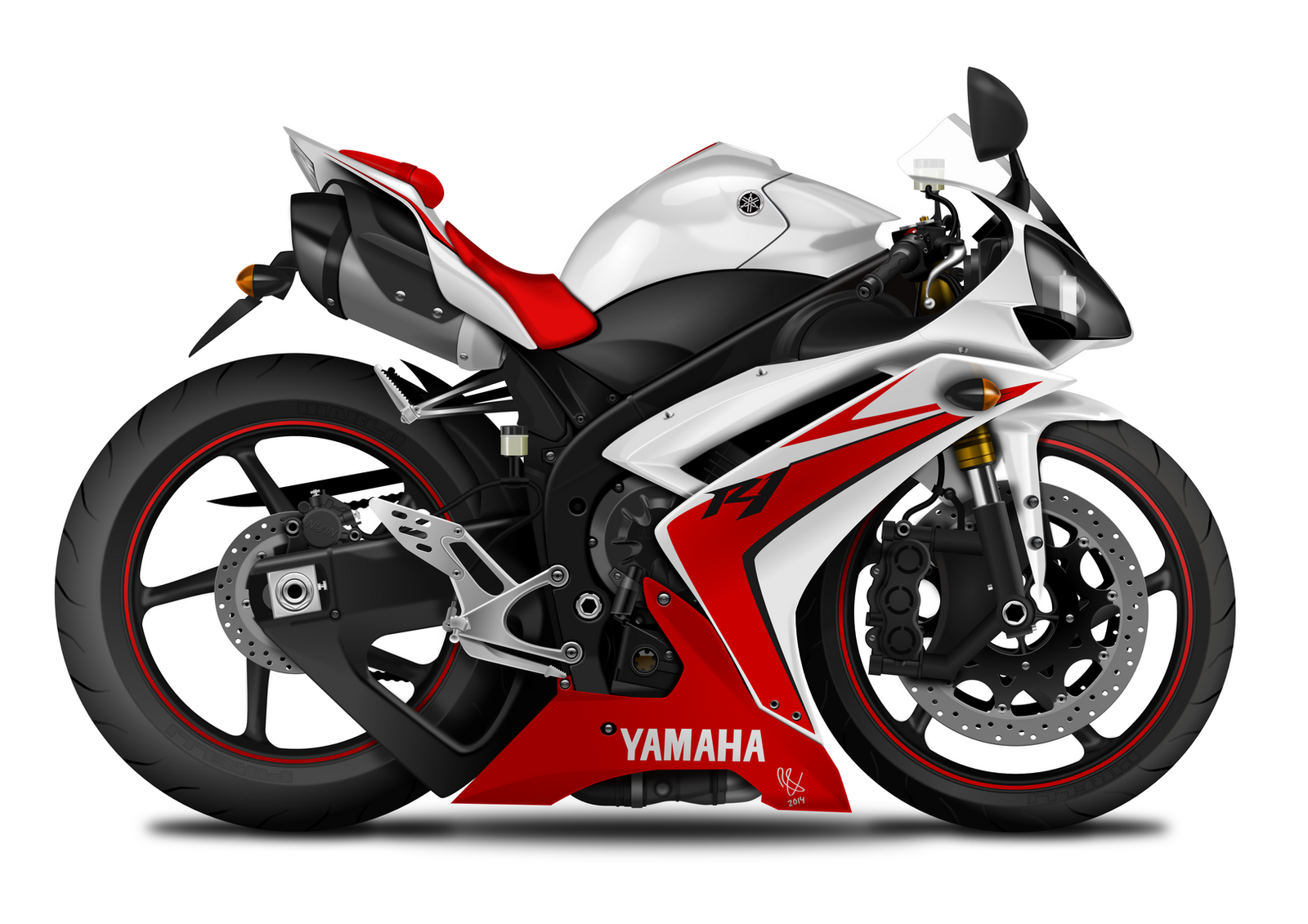 Yamaha yzf r1 white red 2007 caricature by ronvds on for 2007 yamaha yzf r1