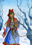 Sami woman in the snow