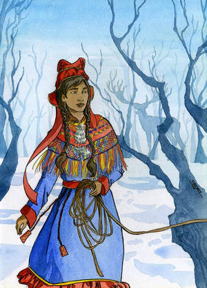 Sami woman in the snow by SaxtorphArt