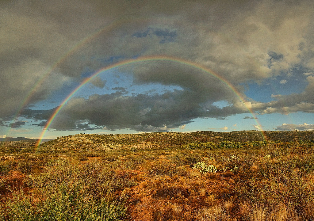 Double Rainbow Over Desert by papatheo