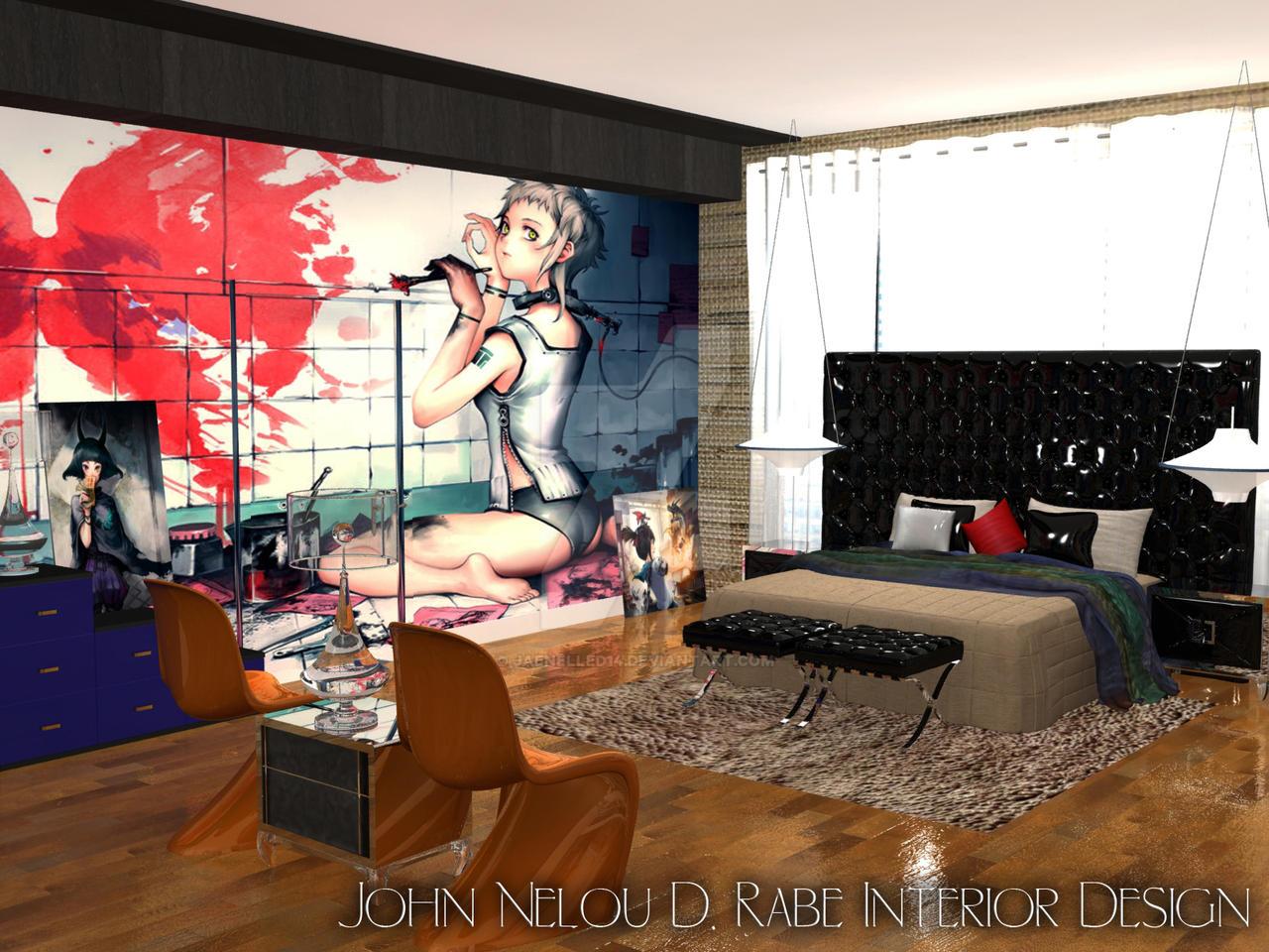 Anime bedroom by jaenelled14 on deviantart for Anime bedroom ideas