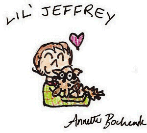 Lil' Jeffrey With Racoon by itsayskeds