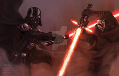 Darth Vader vs Kylo Ren by SEL-artworks