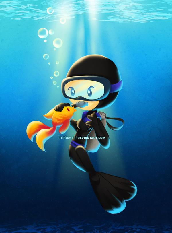 Susana the Scuba Diver by Thiefoworld