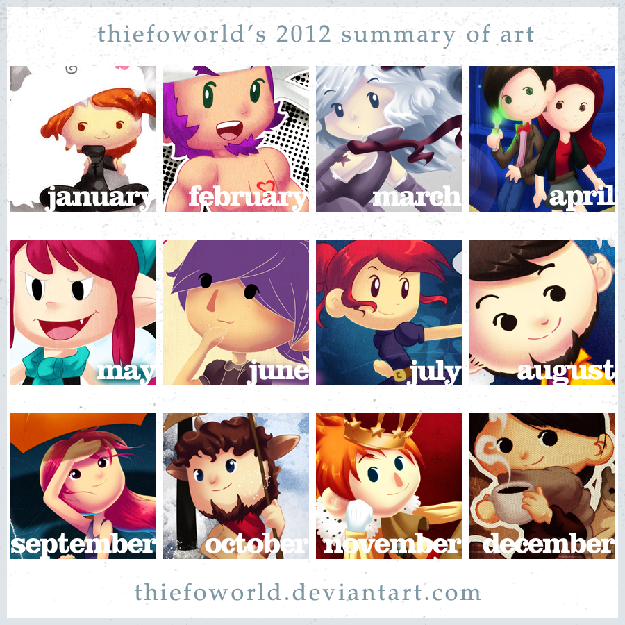 2012 Summary of art by Thiefoworld