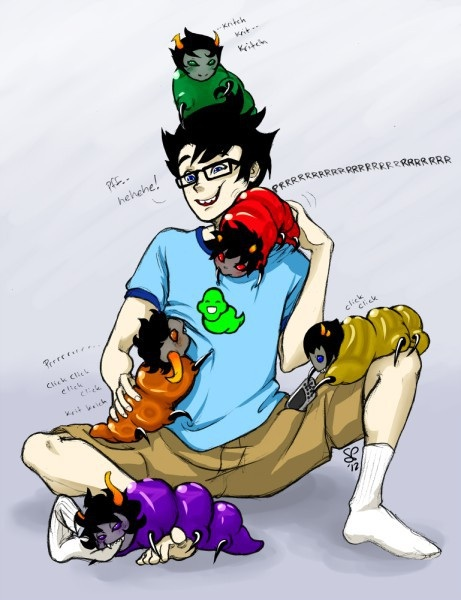 Sollux  Karkat  Kanaya  Gamzee  Tavros and John by Cancero-RebornomanKarkat And Gamzee And Sollux