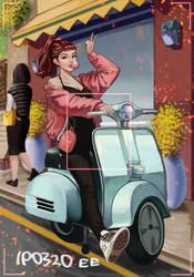 Motorcycle , woman by taetae38