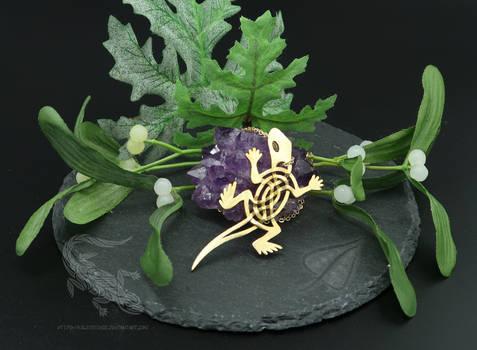 Celtic Lizard Pendant - Brass