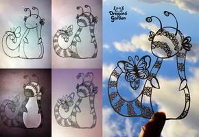 Papercut creature Work in progress by Dragons-Garden