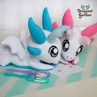 Pink and Blue Dragon Plushies by Dragons-Garden