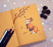Inktober1 Autumn Foxy by Dragons-Garden