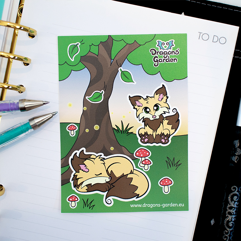 Dragons' Garden - Fox Evening Garden Sticker Sheet by Dragons-Garden