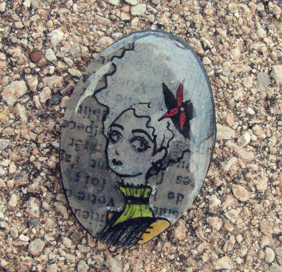 Steampunk Lady Art Brooch by asunder