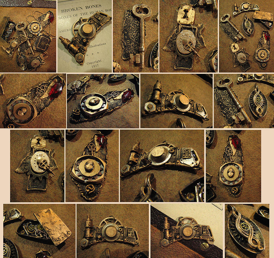 Clay + Metal Steampunk Jewelry by asunder