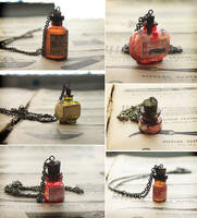 Mini Bottle Necklaces by asunder