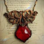 Ornate Brass Glass Necklace