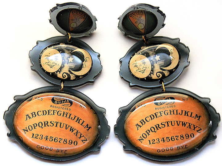 Ouija Board Earrings Laser Cut Acrylic and Cameos by asunder