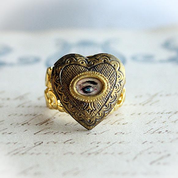 Lovers Eye Miniature Painting Locket Ring by asunder