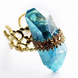 Aqua Aura Quartz Ring