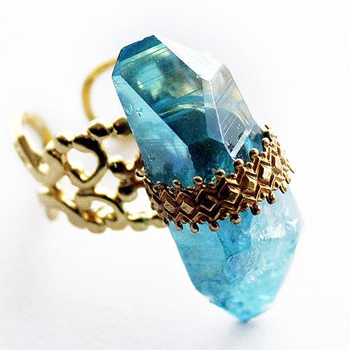 Aqua Aura Quartz Ring by asunder