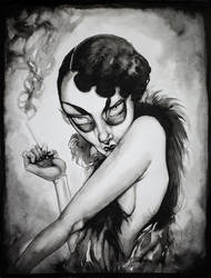 Flapper Ink Painting by asunder