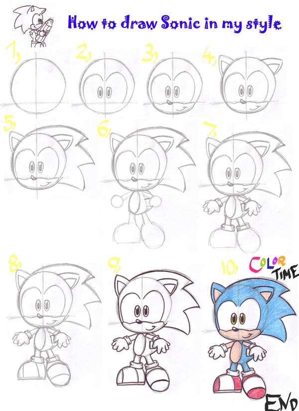 how to draw sonic the hedgehog step by step easy