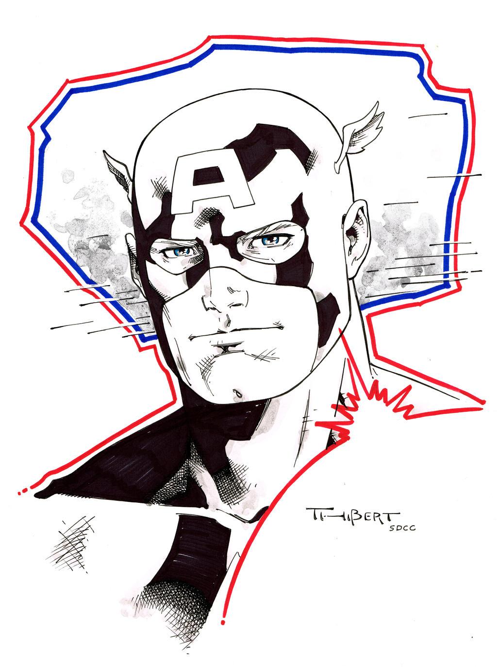 Captain America doodle - SDCC 2014 by aethibert