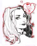 Harley Quinn pre Con doodle - Indiana Comic Con