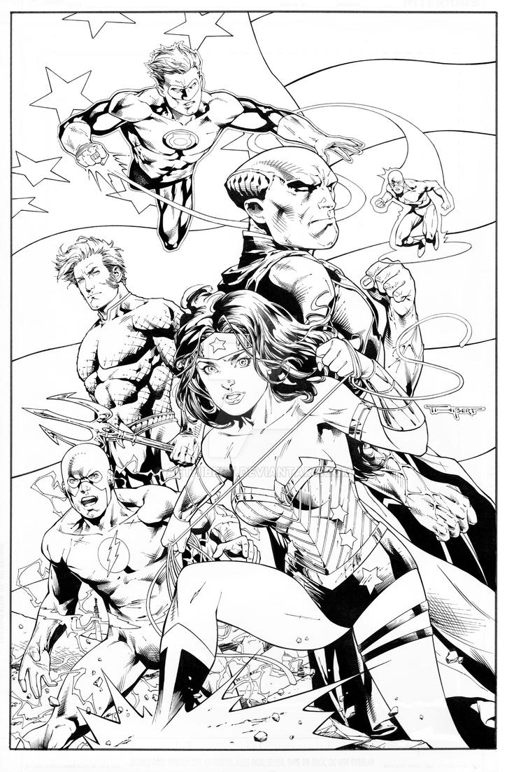 JLA- original team with New 52 uniforms by aethibert