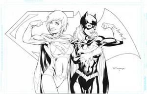 Supergirl Batgirl by aethibert