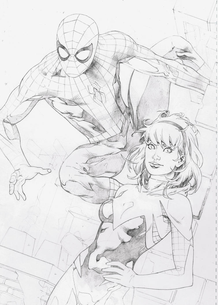WIP,  Hanging out with Gwen and Spidy! by aethibert