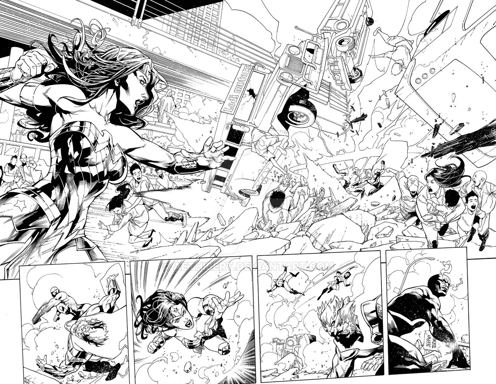 Wonder Woman Issue 37 Double Page by aethibert