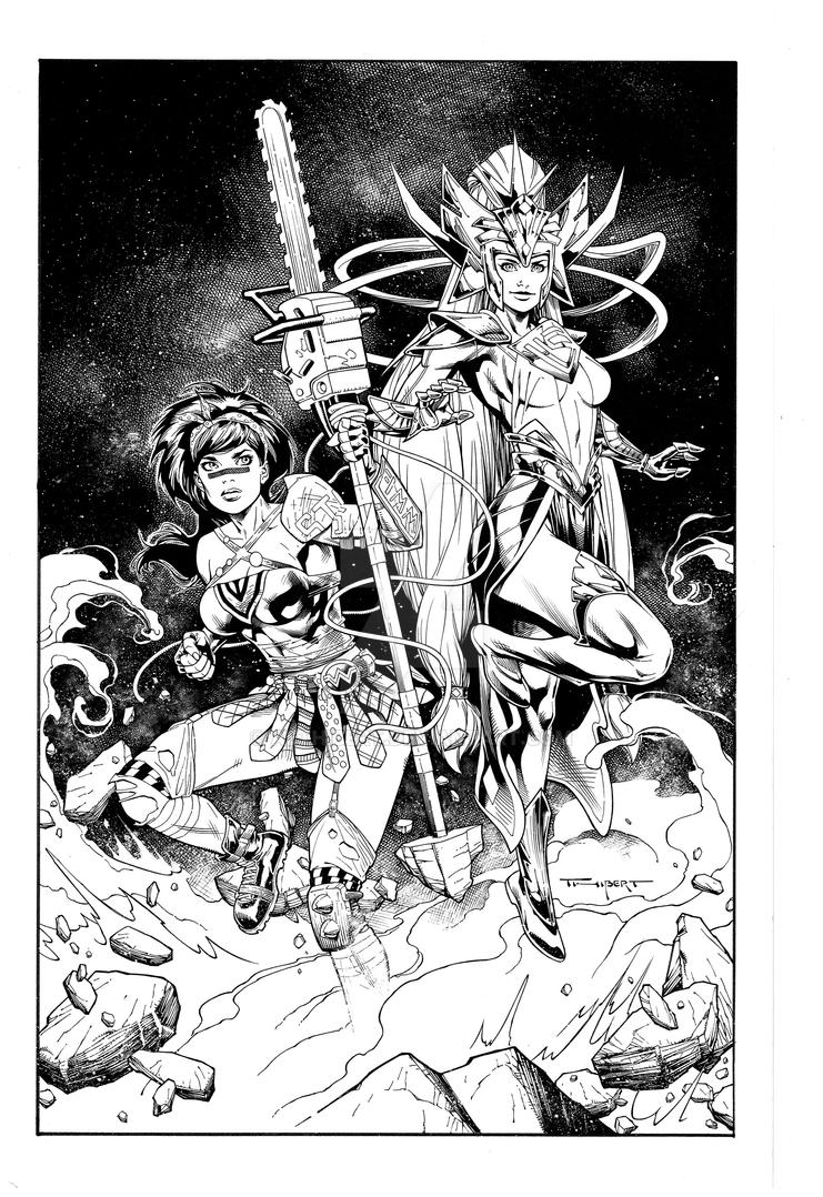 Supergirl Wonderwoman  commission by aethibert