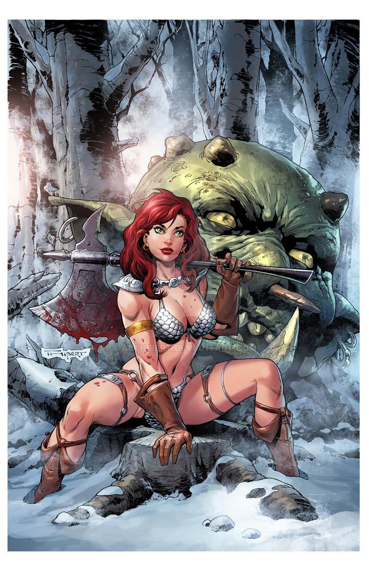 I think it is safe to post my Red Sonja cover now. by aethibert