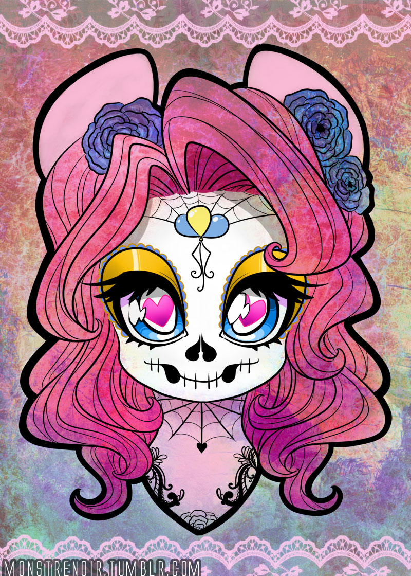 Pinkie Sugar Skull mini print by MonstreNoir