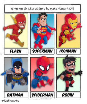 Six characters fanart challenge Superheroes