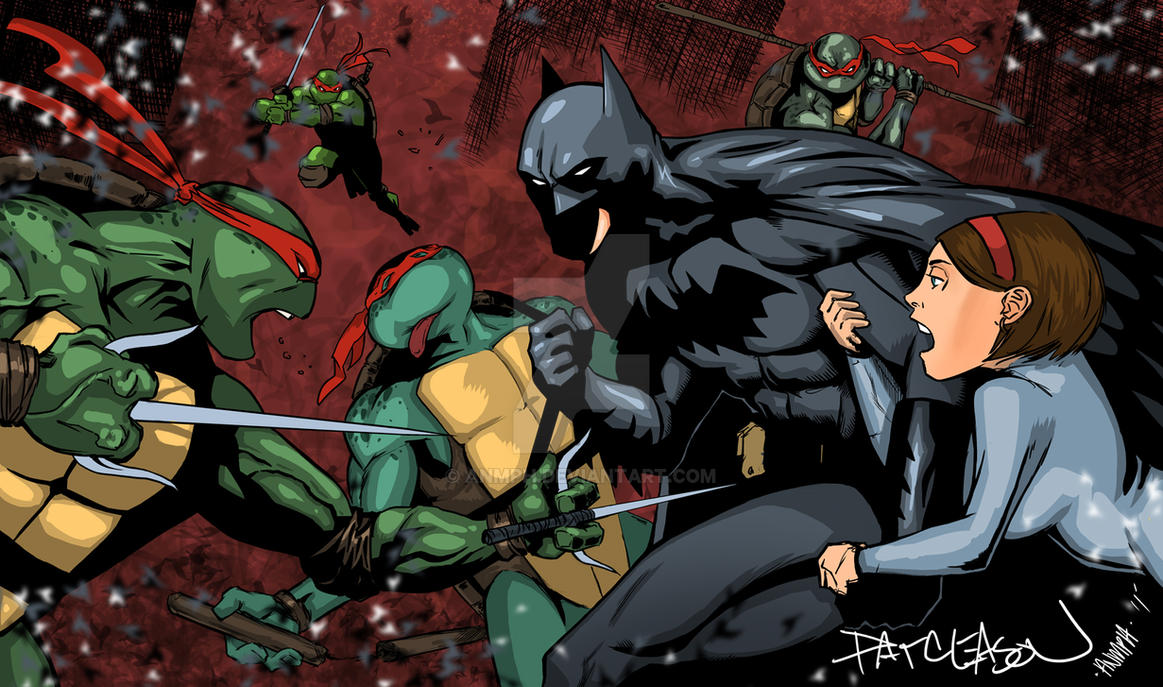 TMNT vs Batman by Pat Gleason by Anmph