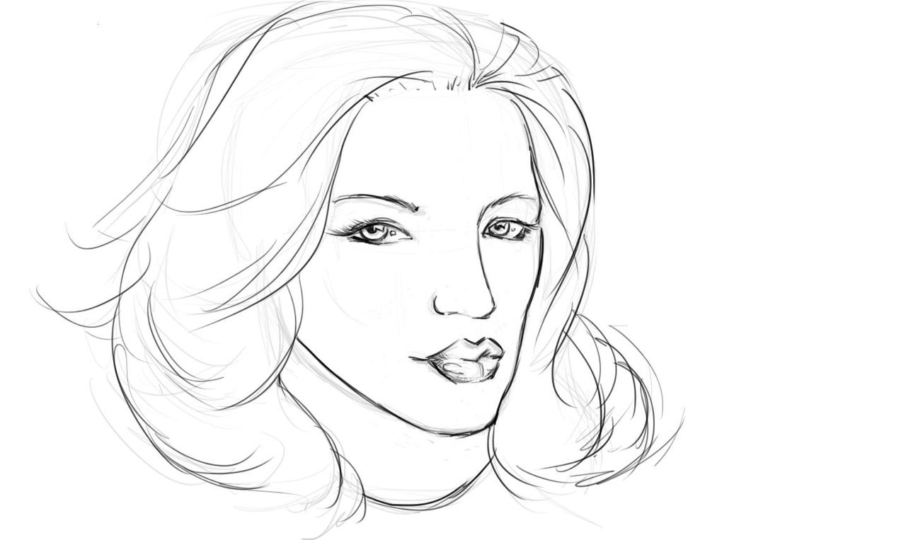 Line Drawing Female : Female face line drawing applestory