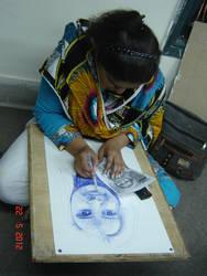 Artist making her own portrait. by petrapurple