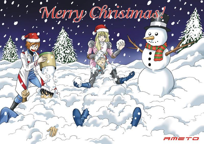 Ameto and friends (Christmas Card) by Rael-Mochizuki