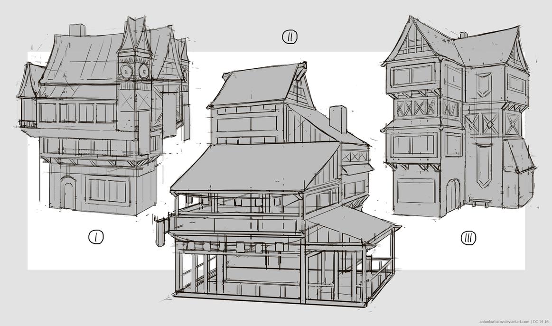 medieval building sketches by antonkurbatov on deviantart