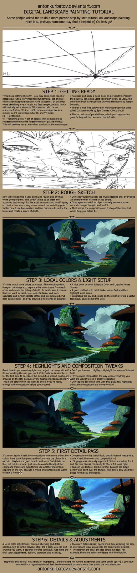 Landscape painting - Big step-by-step tutorial by AntonKurbatov
