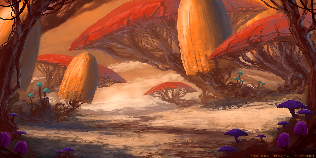 Desert Mushrooms (with speedpaint video!) by AntonKurbatov