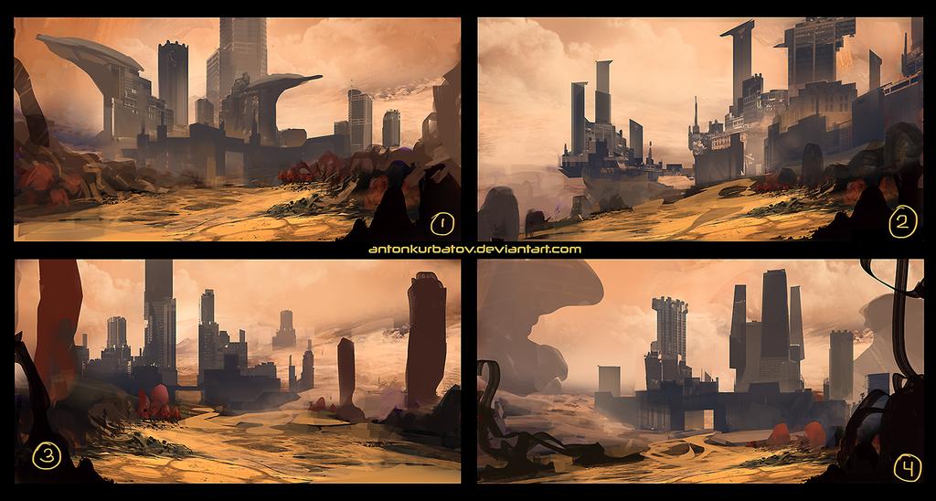 Demonic Desert Castle Sketches by AntonKurbatov