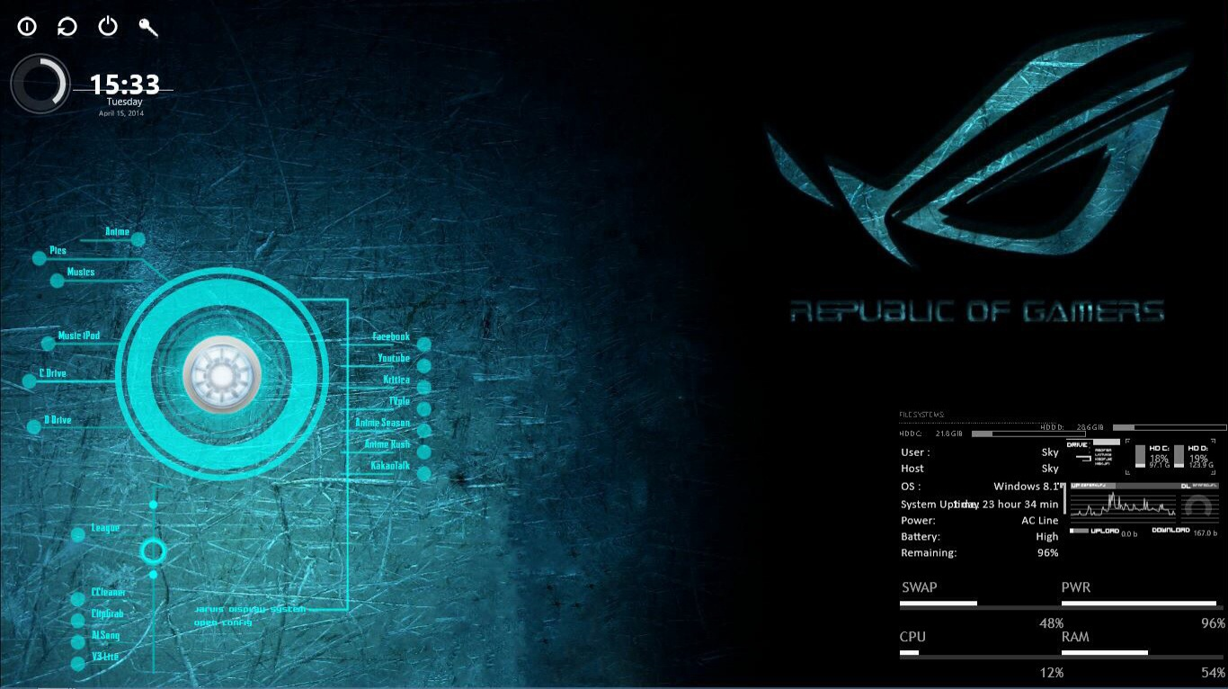 Windows 8.1 Republic Of Gamers ASUS Theme by iEvga